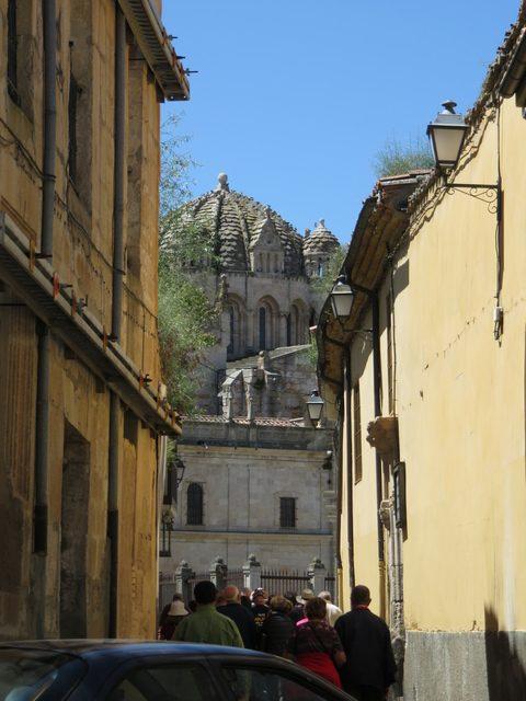 Al fondo el cimborrio de la catedral de Zamora, su cúpula gallonada, sus cuatro torretas,...