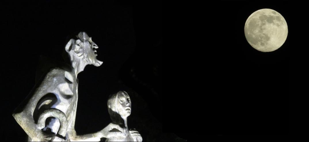 Ciego y lazarillo mirando la Luna.