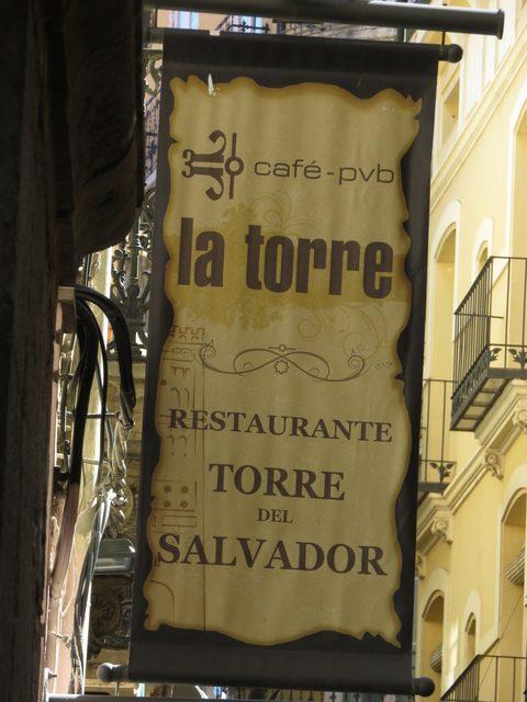 Por si había duda, el restaurante nos dice que es la torre del Salvador