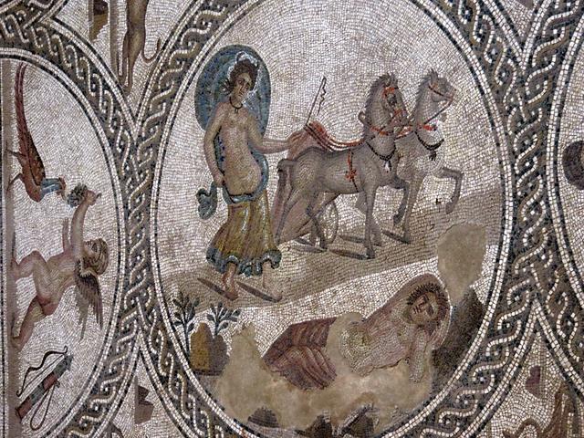 Selene llevada por los caballos y el pastor Endimión durmiendo contemplando laLuna.