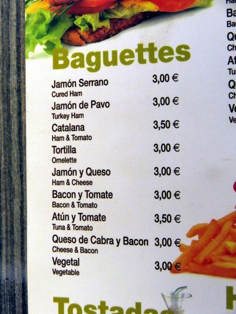 OTRO DETALLE DE LA CARTA. uN EJEMPLO, BAGUETTE DE JAMÓN SERRANO: 3€