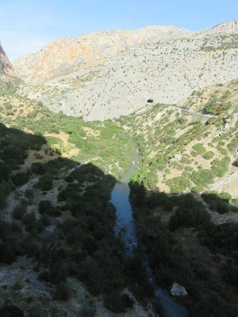 El cauce del río va por allí abajo. A la derecha el túnel del tren.