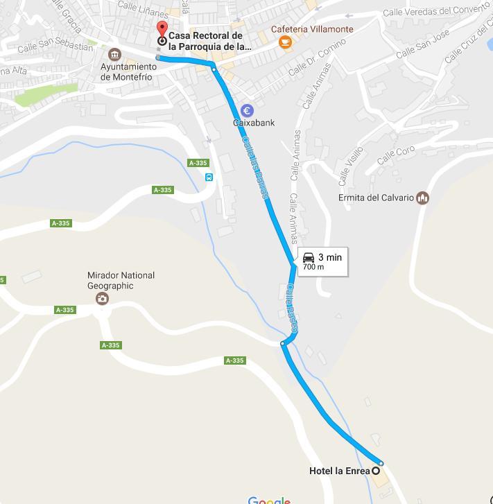 Iglesia de la Encarnación hasta el hotel La Enrea. Gentilea de Google Maps.