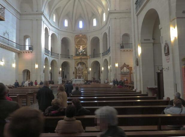 Interior de la iglesia concatedral de Alicante.
