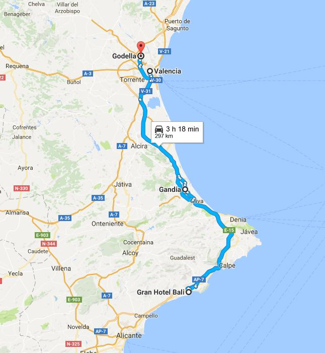 Ruta desde Benodorm a Valencia. Mapa gentileza de Google.
