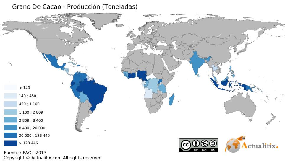 Mapa de producción mundial de cacao. Mapa Creative Commons.