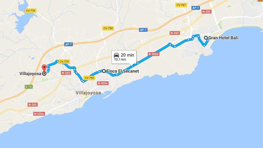 Ruta desde nuestro hotel hasta Villajoyosa