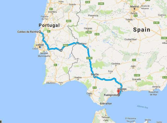 Viaje desde Fuengirola hasta Caldas da Rainha