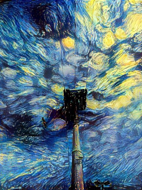 Teleférico con nubes estilo Van Gogh.